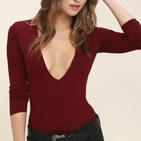 Take a Look Dark Red Long Sleeve Bodysuit