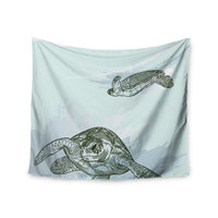 "Sam Posnick ""Sea Turtles"" Green Blue Wall Tapestry"