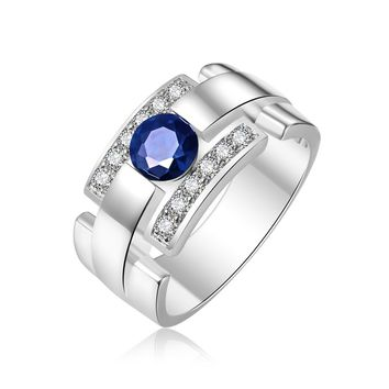 Mens Ring with Created Blue Sapphire and Created White Sapphire Rhodium Plated Brass