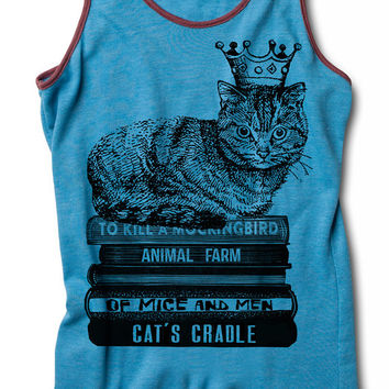 Womens CAT KING Racerback Tank Top for yoga sitting on books wearing crown S M L XL