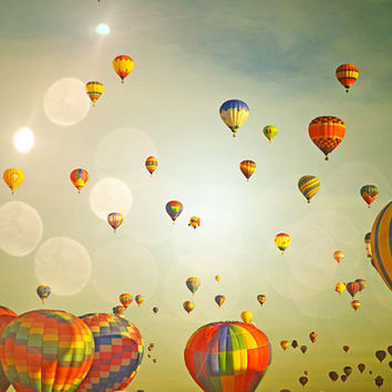 Hot Air Balloons Photography Print 11x14 Fine Art Colorful Sky Whimsical Nursery Landscape Photography Print.