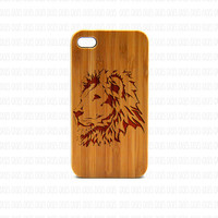 Real Wood iPhone 4s Case, Lion  iPhone 4s Case, Wood iPhone 4s Case, Wood iPhone Case,