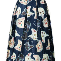 Blue Cat Printed High Waisted Skater Midi Skirt