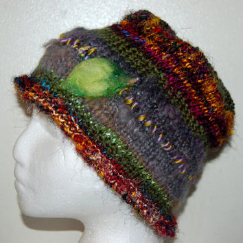 Cloche Hat, Beanie, Art Yarn and Sari Silk multi colored knitted Hat with sparkle felt leaf
