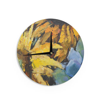 "Carol Schiff ""Sunflowers And Hydrangea"" Yellow Floral Wall Clock"