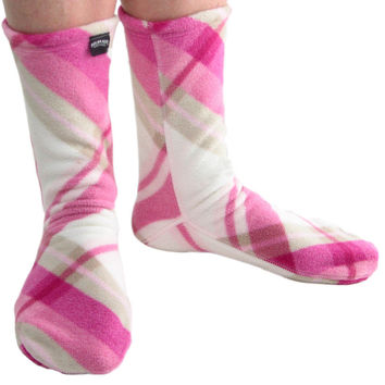Polar Feet® Fleece Socks Pink Argyle