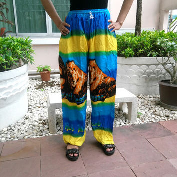 Africa Jamaicans Bob Marley Reggae Rasta Yoga Pants Print Unisex Fisherman Native Hippie Massage pants Gypsy Thai Thailand Handmade Clothing