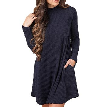 2016 New Autumn Winter Women Casual Loose Turtleneck Knitted Sweater Dress Long Sleeve Solid Color Knit Dress Vestidos Plus Size