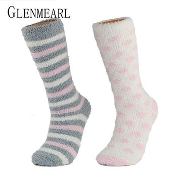 High Indoor Women Socks Soft Warm Spring Winter Brand Thick Striped Compression Hosiery Long Ladies Cosy Home Slipper Socks
