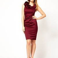 Karen Millen Satin Pencil Dress with Ruffle Neck Detail at asos.com