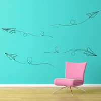 Flying Paper Airplanes Decal Set - Office Decor - Large