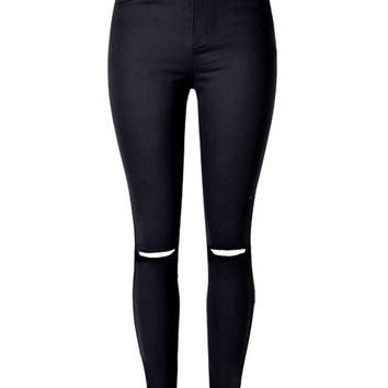 Black Knee Rips Detail High Waist Jeans