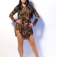 Leopard Print Asymmetrical Long-Sleeve Dress