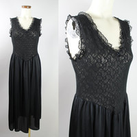 Vintage - 80s - Black - See Through - Stretch - Floral Lace - Ruffle & Bow - Sleeveless - Long Nightgown - Nightie - Lingerie