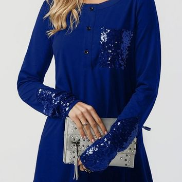 Blue Patchwork Sequin Pockets Buttons Round Neck Casual T-Shirt
