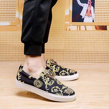 Versace Black White Gold Men Fashion Sneakers