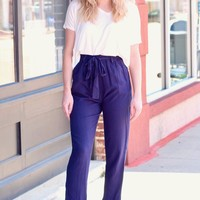 Navy Office + Out Linen Blend Tapered Pants