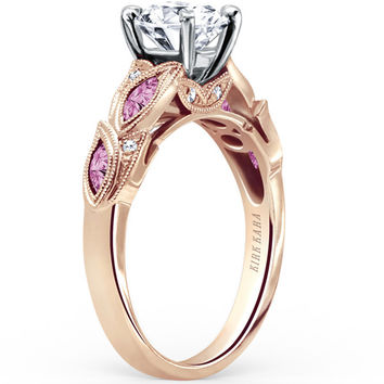 "Kirk Kara ""Dahlia"" Marquise Shaped Pink Sapphire Diamond Engagement Ring"