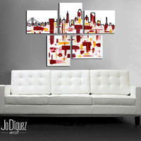 """Made to order. Original abstract painting. 5 piece canvas art. 29x41"""" Large painting of San Francisco's skyline. Modern wall art. Fine art."""
