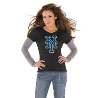Touch by Alyssa Milano New York Mets Women's Primary Logo Tri-Blend Long Sleeve Layered T-Shirt