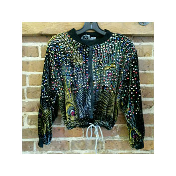 90s vintage peacock velvet sequin cropped jacket- medium