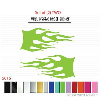 Flames Vinyl Graphic Decal Sticker  - STYLE F5016 - Set of (2)