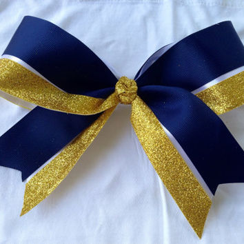 Navy gold white cheer bow team hair bow