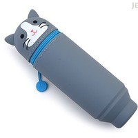 JetPens.com - Lihit Lab Smart Fit PuniLabo Stand Pen Case - Gray Cat