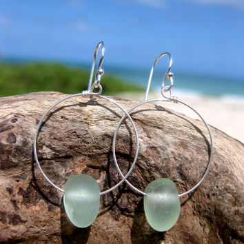 Hawaiian Rare Pebble-Like Aqua Blue Beach Glass on 925 Sterling Silver Circular Wire Small Hoop Earrings
