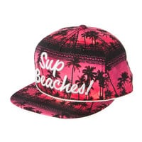 Sup Beaches Pink Sunset and Palm Trees Baseball Cap