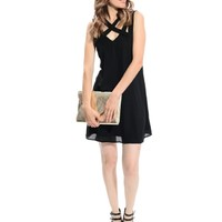 Black Crisscross Strappy Dress | $11.50 | Cheap Trendy Casual Dresses Chic Discount Fashion for Wome