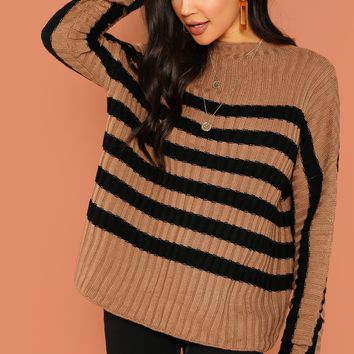 Camel Striped Rib Knit Pullover Sweater