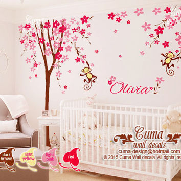 Nursery wall decal cherry blossom tree with monkey baby name decal office wall decals nursery wall decal- Z209 by cuma