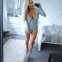 women long-sleeve sexy knitted bodysuit