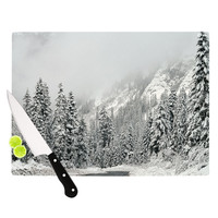 "Robin Dickinson ""Winter Wonderland"" White Gray Cutting Board"