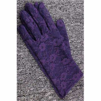 Lace Floral Crocheted Sun Protective Short Knitted Gloves Purple
