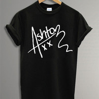 New Ashton Irwin Shirt The 5 SOS Symbol  Black and White t-Shirt For Men Or Women Size TS 33