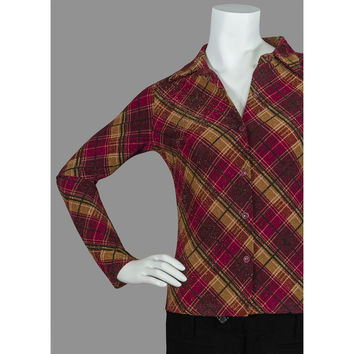 Vintage Plaid Shirt / Metallic Sparkle Top / 1990s 90s Grunge Hippie Shirt / Burgundy Red Gold Brown Black