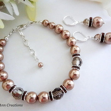 Swarovski Bronze Pearl and Crystal Bracelet Set Fall Wedding Dark Champagne Pearl Bridal Bridesmaid Jewelry Set Mother of Bride Groom Gift