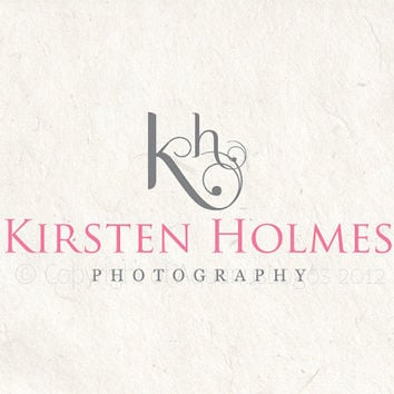 Premade photography logo and watermark using two initials in swirls. Watermark files included.