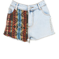 Parisian Pale Blue Aztec Panel High Waisted Denim Shorts
