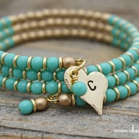 Personalized Turquoise and Gold Bangle Wrap Bracelet by Cheydrea
