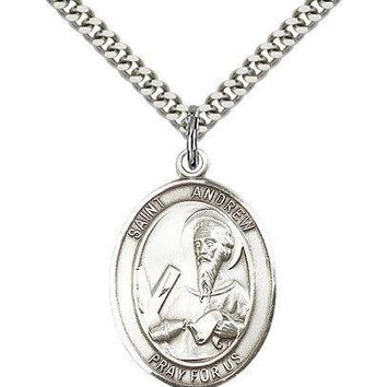"""Saint Andrew The Apostle Medal For Men - .925 Sterling Silver Necklace On 24""""... 617759885590"""