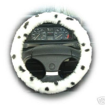 Dalmatian fuzzy steering wheel cover car dog black white spot print spotty faux fur fluffy furry 101 dalmatians cruella pet crufts show