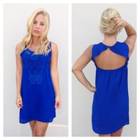 Royal Sleeveless Crochet Dress