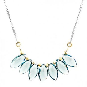 Blue Quartz Marquis Collar Necklace