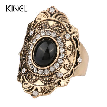 New Unique Black Turquoise Ring Fashion Gold Plated Vintage Wedding Rings For Women Mosaic Crystal Gift Big Size 11