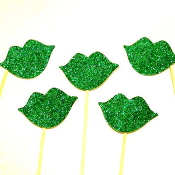 Photo Booth Props 10 Green Glitter Lips on a Stick Photobooth Props Wedding Photo Booth Props Christmas Photo Props St Patricks Day Props