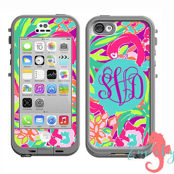 Monogrammed Lilly Pulitzer Inspired LifeProof Case Skin Decal - iPhone 6 Plus, iPhone 6, iPhone 4/4s, iPhone 5/5s or iPhone 5c