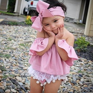 Baby Girls Off Shoulder T-Shirt Solid Color Short Sleeve Top Tees + Headband Outfits Toddler Kids Fashion Clothes
